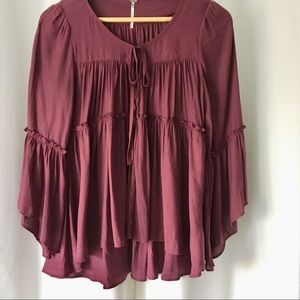 Free People boho burgundy peasant top. Oversize XS